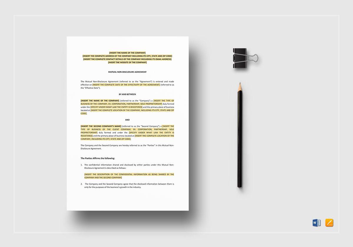 mutual non disclosure agreement sample