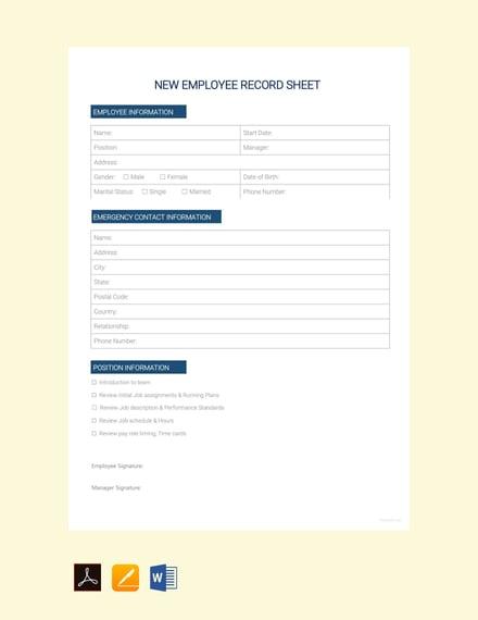 New Employee Record Sheet
