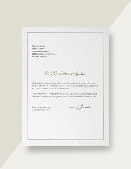 no objection certificate for student template