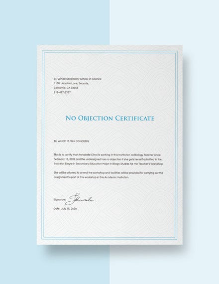 no objection certificate from employer template