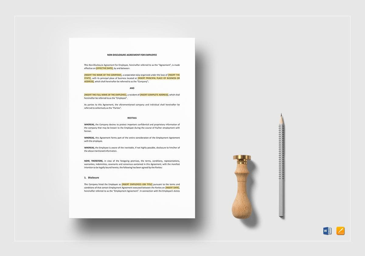 non disclosure agreement for employee example