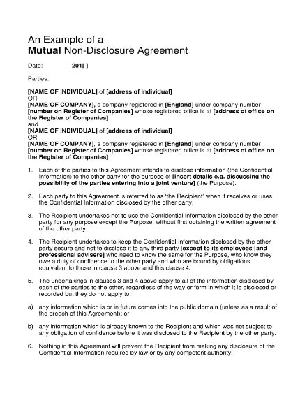 non disclosure mutual agreement example