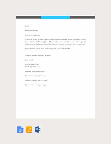 notarized letter template for residency