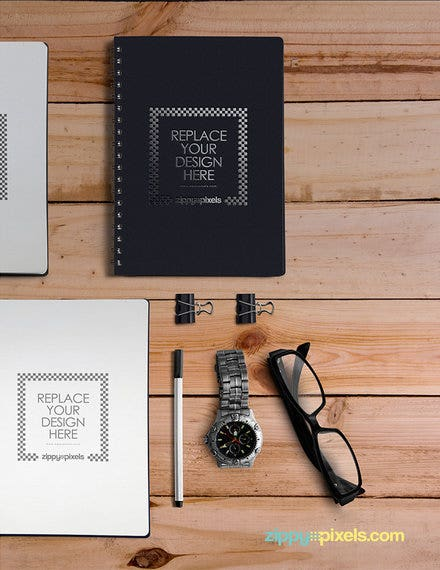 notebook mockup design example
