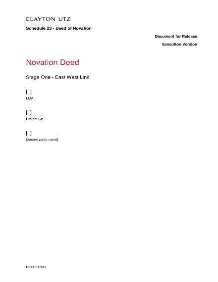 novation agreement for a project