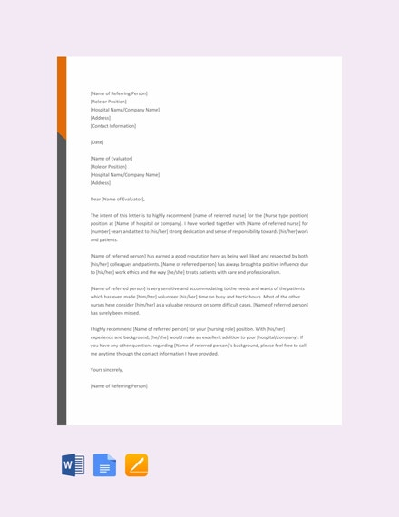Nursing Reference Letter Example