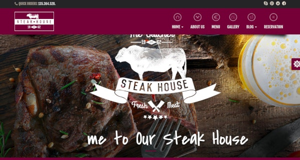 one page html template for steak houses