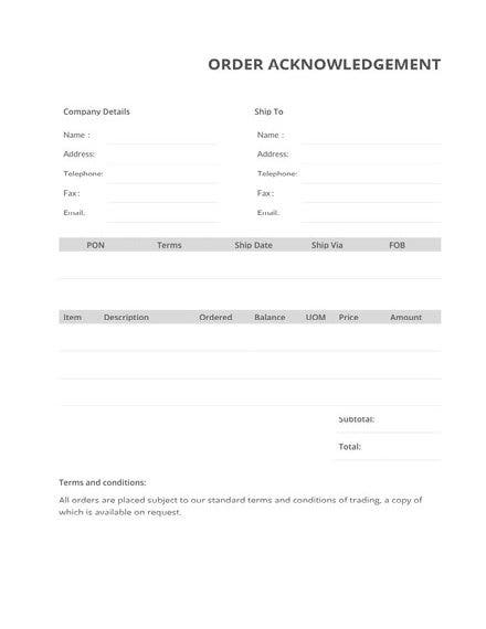 Order Acknowledgement Template