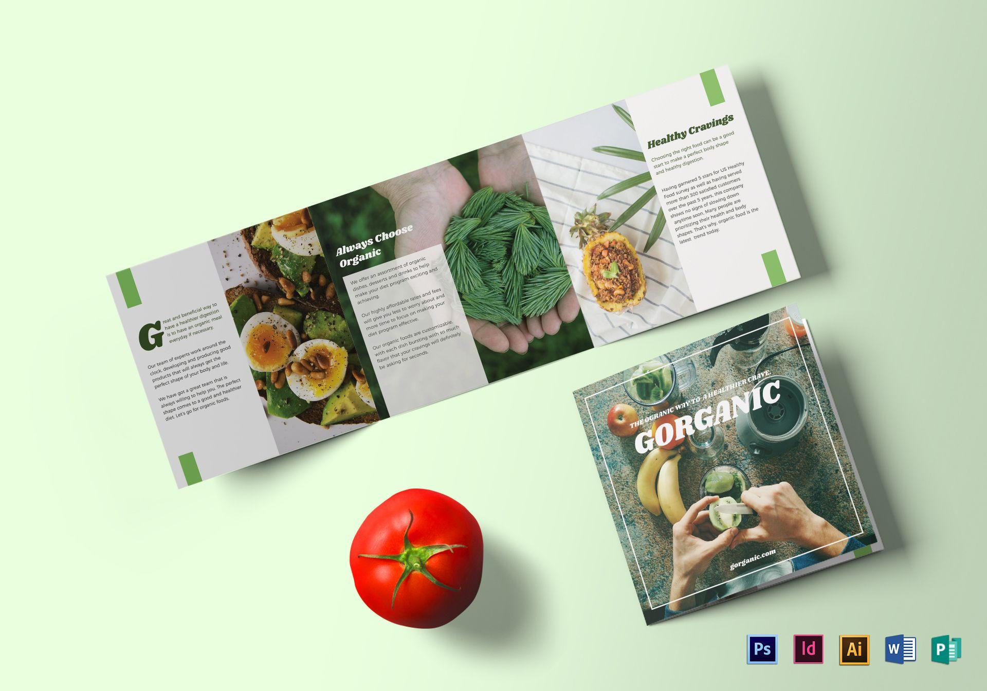 organic vegetables minimalist square brochure