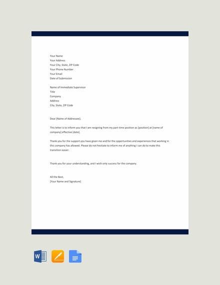 part time job resignation letter