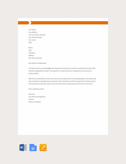 payment acknowledgement letter template