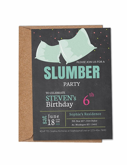 Pillows Slumber Party Invitation Sample