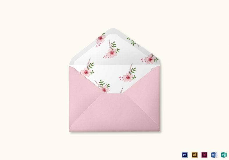 pink floral wedding envelope card template 788x552