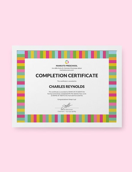 preschool completion certificate