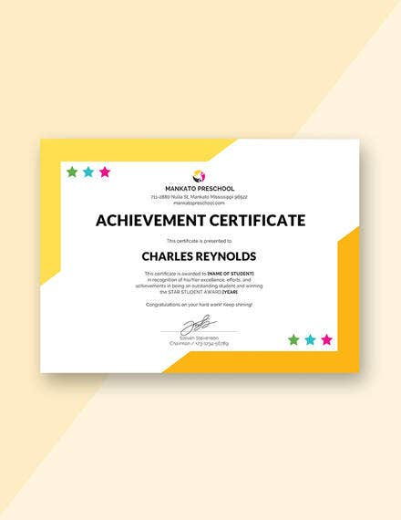 preschool internship achievement certificate