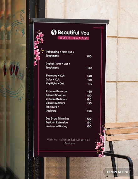 price list digital signage template in psd