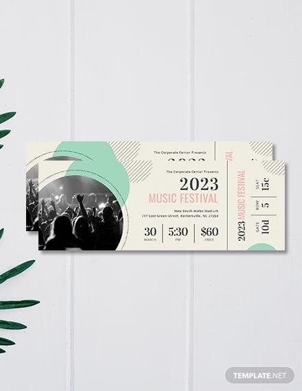 printable concert ticket template psd