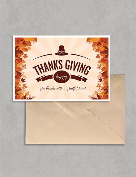 Printable Thanksgiving Greeting Card Template PSD