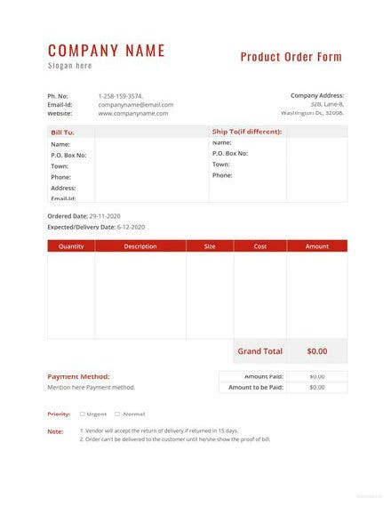 product order template