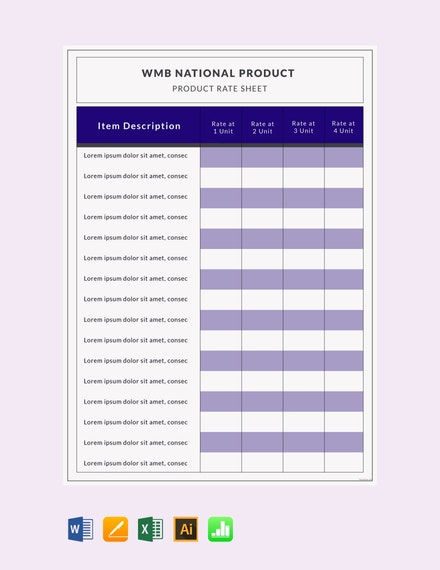 product rate sheet template