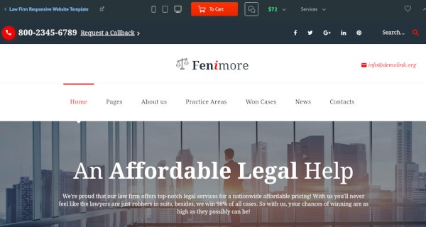 professional law firm responsive website template