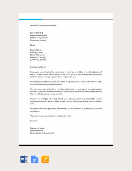 professional sponsorship letter template