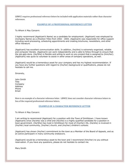 professional and character reference letters