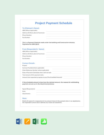 Project Payment Schedule