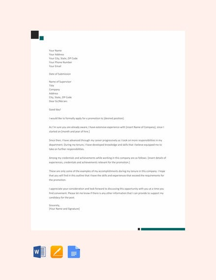 promotion application letter template