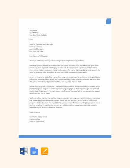proposal letter template for funding