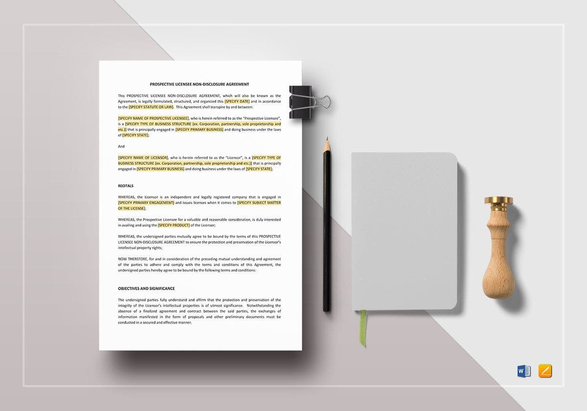 prospective licensee non disclosure agreement template