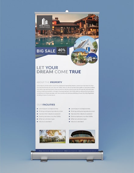 real estate roll up banner template in illustrator