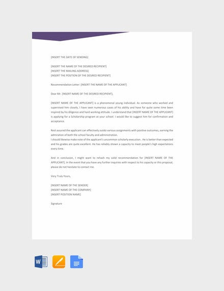 recommendation letter template for scholarship
