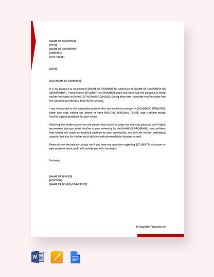 sample recommendation letter for a student