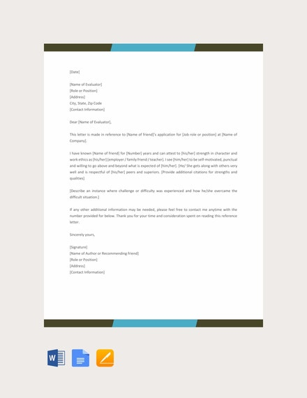 Reference Letter for a Friend Example