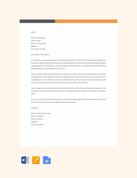 Reference Letter for a Teacher Template