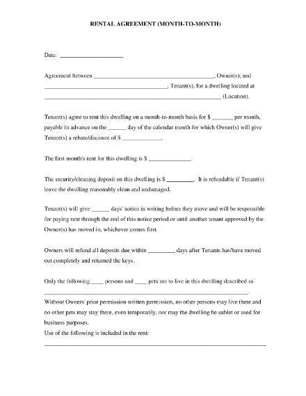 rental agreement month to month 1