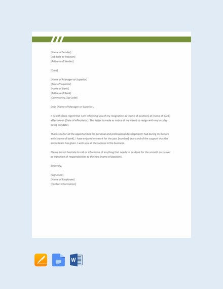 resignation letter format for bank employee