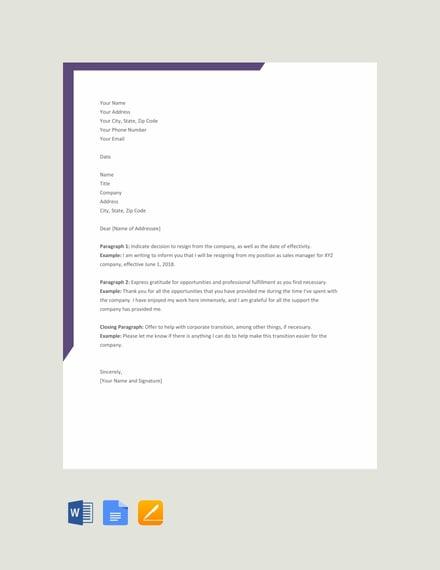 resignation letter format1