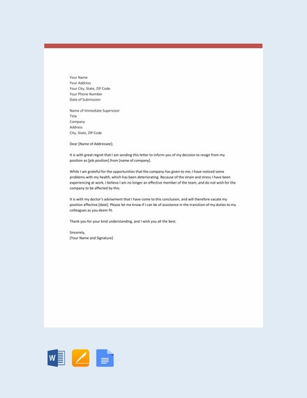 resignation letter template due to health issues