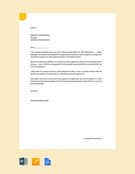 resignation letter for personal family reasons