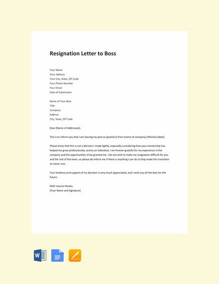 resignation letter to boss template