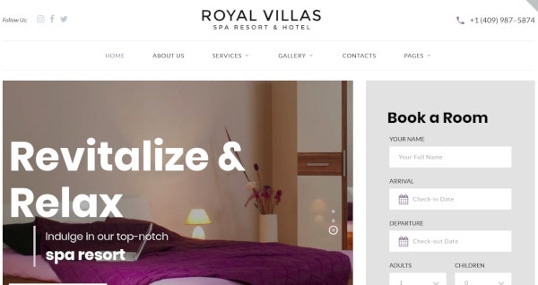responsive multipage resort website template