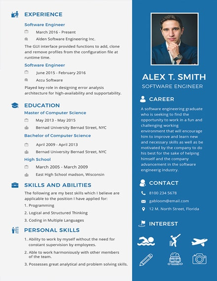 resume for software engineer