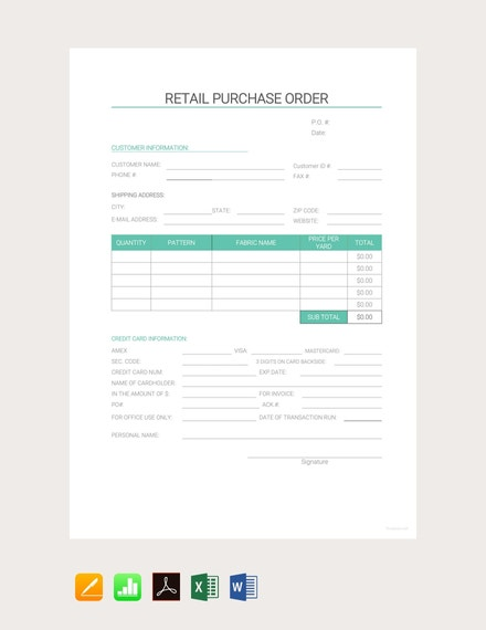 retail purchase order