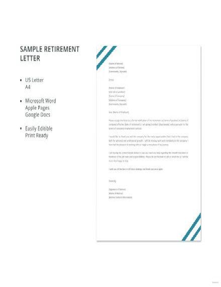 Retirement Letter Template
