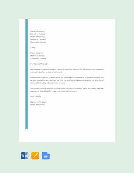 retirement letter to employee template