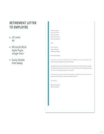 retirement letter to employee