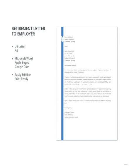 retirement letter to employer template