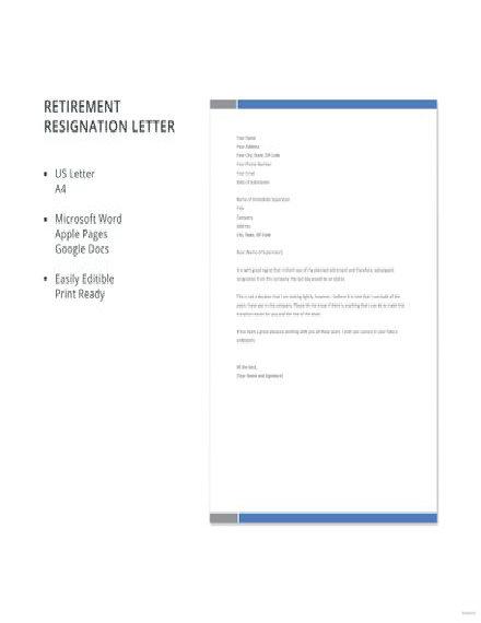 Retirement Resignation Letter